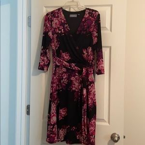 NY Collection Black and Pink Floral Faux Wrap